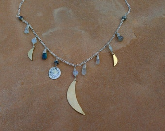 Triple moon and sun charm necklace artisan jewelry bohemian style