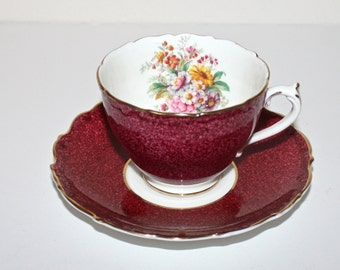 Coalport . Bone China Made in England . Vintage 1940s 50s Tea Cup & Saucer - Raspberry Red White with Floral and Gold Gilt Trim
