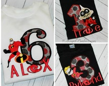 Mr. Incredible Dash Incredibles inspired Birthday Shirt, Bib or Hat Red & Black FREE NAME Pick Size, Fabirc, Name and Colors