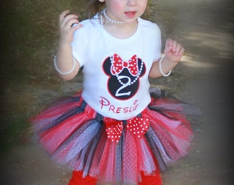 Girls Birthday Tutu Outfit MINNIE Red or Pink Traditional Inspired 3 Piece Glitter First INCLUDES TuTu, Hairpiece and Top Pick Size, Number