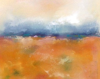 Orange Abstract Landscape Original Painting -Indian Orange Landscape 12 x 12