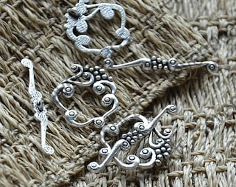 12 sets Antique Silver Flower Toggle Clasp,Necklace Clasp Findings,Bracelet Clasp Findings,Clasp Charms,Clasp Findings