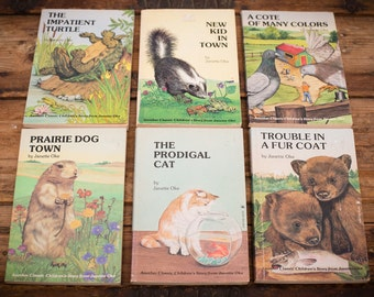 Lot of Six Cute Animal Story Books, Janette Oke, Morals/Character, Vintage 80s