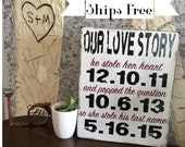Custom Our Love Story with Dates - He stole her heart - He popped the question - She stole his last name - Wedding Gift -Engagement Gift