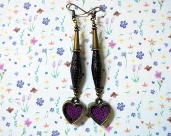 Plum, Black and Brass Heart Earrings (2814)