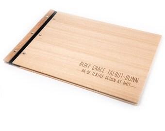 Portfolio 12x17. A3 Folder. Graduation Gift. Student Portfolio. Custom Wood Portfolio