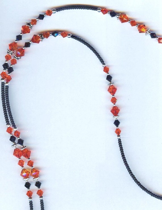 VA Tech - OK State Swarovski Faceted Crystal Beaded Eyeglass Chain or ID Badge Lanyard