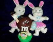 Vintage Hong Kong Bunny Rabbits M & M  Decorations