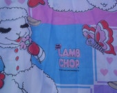 Shari Lewis Lamb Chop fitted twin sheet 1983 by Shari Lewis Enterprises flowers, butterflies hearts  purple pink white black green red