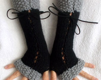 Women Fingerless Gloves Long Corset  Wrist Warmers Black Light  Grey with Suede Ribbons Victorian Style Hand Knit