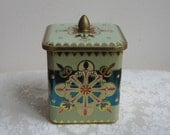 Vintage Tin Medallions Hearts Embossed Metal Box by SLK, Teal Blue Fuchsia Gold Off White, Metalware Storage Container
