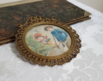 Vintage Gold Filigree Round Metal Picture Frame With Boy Girl Children Gardening Portrait Wall Art Print, Ornate Floral Design