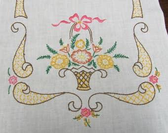 Vintage Hand Embroidered Flower Basket Floral Table Runner Dresser Scarf