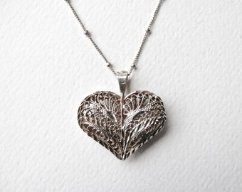 Heart Pendant, Silver Filigree, Heart Necklace Sterling Silver, Valentine, Filigree Heart, Sterling Heart, Silver Heart, 925, Valentines Day