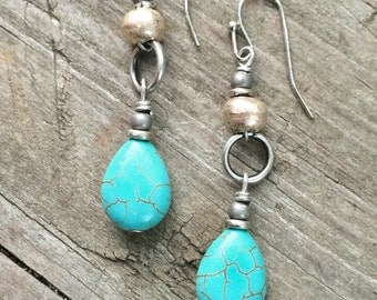 Turquoise earrings, boho jewelry, silver ethnic jewelry, silver earrings, dangle earrings, southwestern jewelry, gift for her