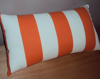Orange Stripe Outdoor Lumbar Pillow Cover - Available In 3 Sizes