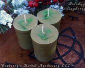 BAYBERRY, Pure Wax Pillar Votives Handcrafted In The Olde New England Tradition.  Yuletide, Winter Solstice Magick, Prosperity, Abundance