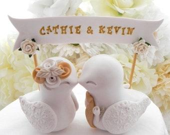 Wedding Cake Topper Love Birds, Ivory and Gold, Custom Banner - Bride and Groom Keepsake