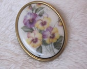 vintage brooch, porcelain , tranfers flowers, yellow and purple pansies, pansy brooch