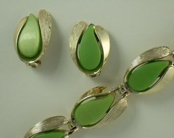 Vintage  Moonglow Thermoset Earrings & Bracelet in Apple Green