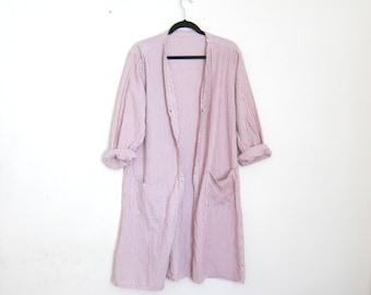 Duster Long Jacket Cotton Seersucker Textured Snap Down Cardigan Robe House Coat Ladies Size M