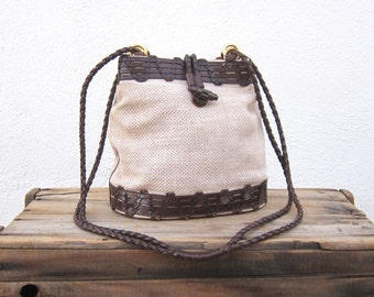 Woven Leather Tote Shoulder Bucket Bag Brown Leather and Cream Canvas Purse