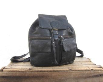 Black Rucksack Backpack Worn in Leather Grunge 90s Travel Bag