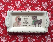 Pug Couple Vintage Illustrated Valentines Day Plate
