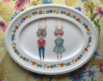 Hipster Bunnies and Bright Floral Large Vintage illustrated Plate