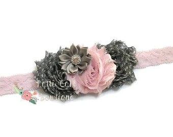 Pink & Grey Shabby Chic Headband, Pink and Silver Flower Headband, Baby Girls Headband, Baby Headband, Lace Pink Headband, Toddler Headband