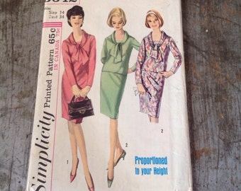 Vintage Simplicity Sewing Pattern 5642 Misses' Size 14 Bust 34 Dress