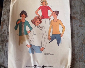 Vintage Simplicity Sewing Pattern 7445 Misses' Size Medium 12-14 Pullover Tops
