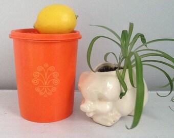 Orange Tupperware Cannister / Tupperware Cannister / Vintage Tupperware