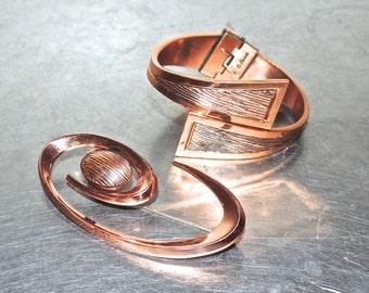 vintage copper jewelry set - 1950s-60s Renoir copper mid century bracelet & brooch set