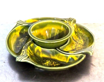 vintage divided serving bowls - 1960s mid century green pottery serving platter set
