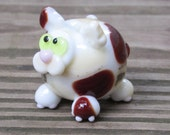 Calico Spotted Fat Cat Kitten Lampwork Glass Homemade SRA Bead NLC Beads leteam