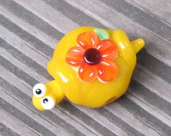 Yellow Floral Turtle Lampwork Handmade SRA Glass Bead NLC Beads leteam