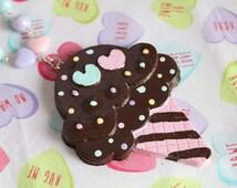 Fairy Kei Double Scoop Ice Cream Necklace Chocolate Pastel