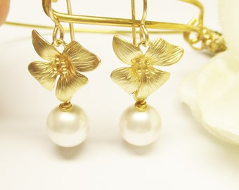 Gold Orchid and Pearl Drop Earrings, Floral Earrings, Bridesmaid Earrings, Wedding Earrings, Gold Orchid Earrings