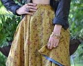 50% OFF CALYPSO SKIRT /// Flow Skirt /// Vintage Saree Print  /// one of a kind /// Large