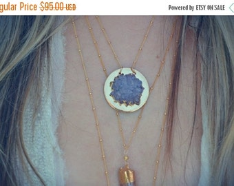 XMAS IN JULY Moon Sphere /// Electroformed Druzy Necklace /// 24kt Gold /// Lux Divine