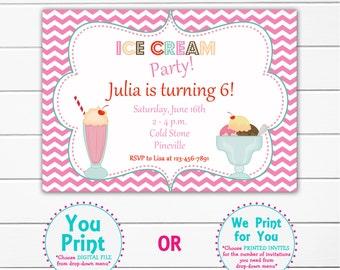 Ice cream party birthday Invitation -- ice cream  party ice cream social -- You print or I print