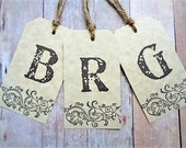 Monogrammed Tags Rustic Bridesmaid Personalized Initial Scroll Vintage Style