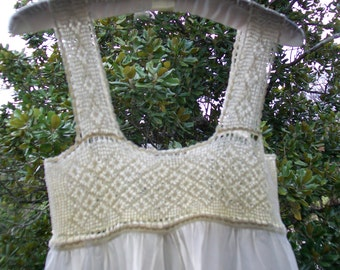 Antique Linen & Vintage Lace White Nightgown - Hand-made - Upcycled - Bridal - Romantic Wedding Dress