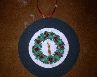 Christmas Wreath Cross Stitch Ornament