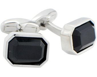 Jet Black Crystal Cufflinks 1200355