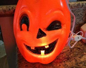 Vintage Trick or Treat Pumpkin Halloween Pail Adorable 1960s or 70's Medium Size