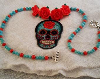 Dia de los Muertos Calavera Sugar Skull Necklace