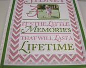 Girl's  Pink and Green Chevron Keepsake  Memory Box -Baptism, Adoption, Birthday