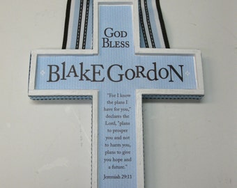 Boy's Baptism Cross - Light Blue and Brown Jereimah 29:11 - approx 7 x 9 inches